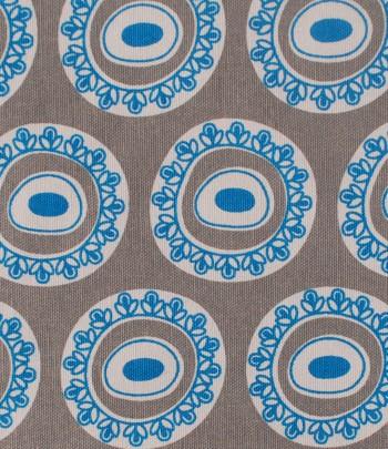 Byzantine Circle Design in blue on grey background