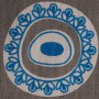 Byzantine Circle Design in blue on pale grey background - Detail
