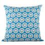 Plain Circle cushion cover in blue on pale grey - Square (50cm x 50cm, 60cm x 60cm)