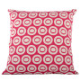 Plain Circle cushion cover in bright rose on pale grey - Square (50cm x 50cm, 60cm x 60cm)