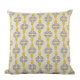 Vine cushion cover in celery and dark grey on pale grey - Square (50cm x 50cm, 60cm x 60cm)
