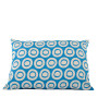 Plain Circle cushion cover in blue on pale grey - Rectangle (60cm x 40cm)