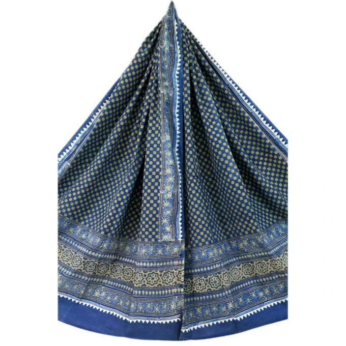 Ajarakh Cotton Shawl Indigo Pattern 1