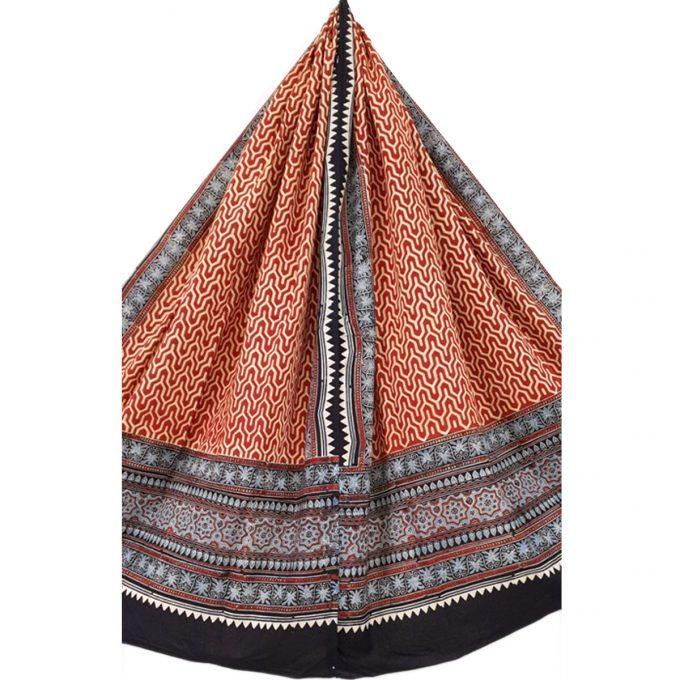 Ajarakh Cotton Shawl Red Pattern 1