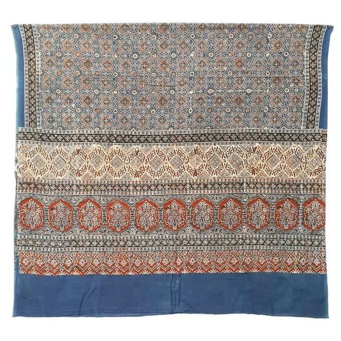 Ajarakh Fine Cotton Shawl 1 Indigo Madder Iron