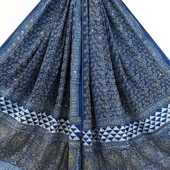 Ajarakh Modal Silk Shawl Mirrored Blue Pattern1