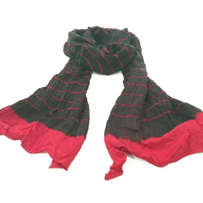 Bandhani Gajji Stole Black Red