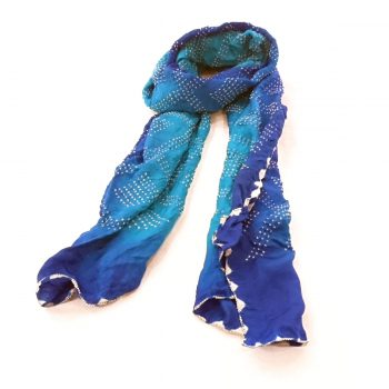 Bandhani Gajji Stole Blue Turquoise