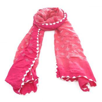Bandhani Gajji Stole Hot Pink Coral