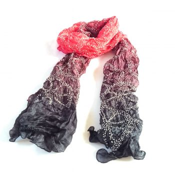 Bandhani Tabby Stole Black Wine Red