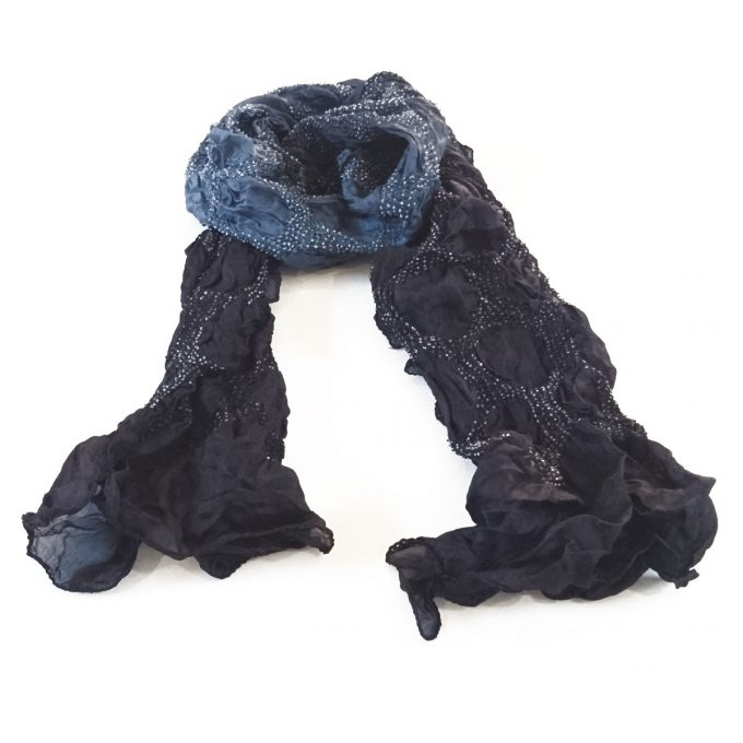Bandhani Tabby Stole Blue Black