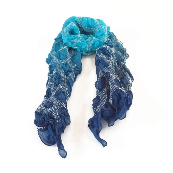 Bandhani Tabby Stole Blue Turquoise