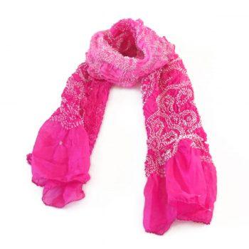 Bandhani Tabby Stole Hot Pink
