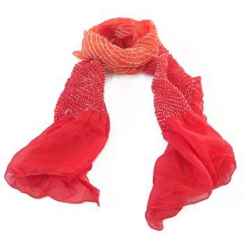 Bandhani Tabby Stole Orange Red