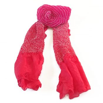 Bandhani Tabby Stole Pink Red