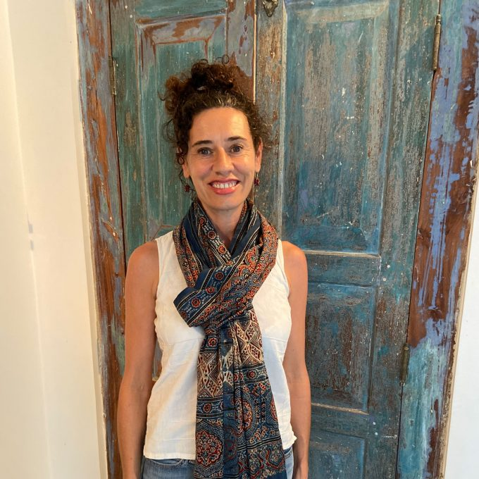 Lindsay Wearing Ajarakh Fine Cotton Shawl Indigo