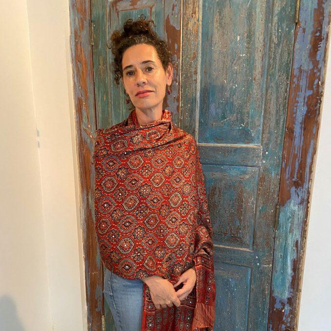 Lindsay wearing Ajarakh Modal Silk Shawl Red 2