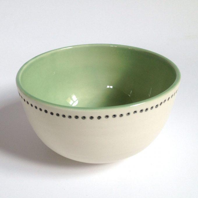 POS Bowl Horizontal Dots White Green