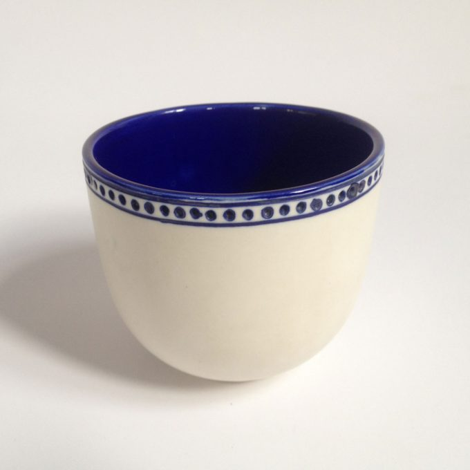POS Cup Horizontal Lines White Blue