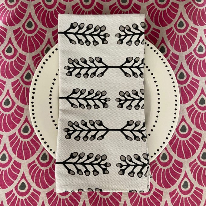 Tableware Combo Feather Placemat Stem Napkin