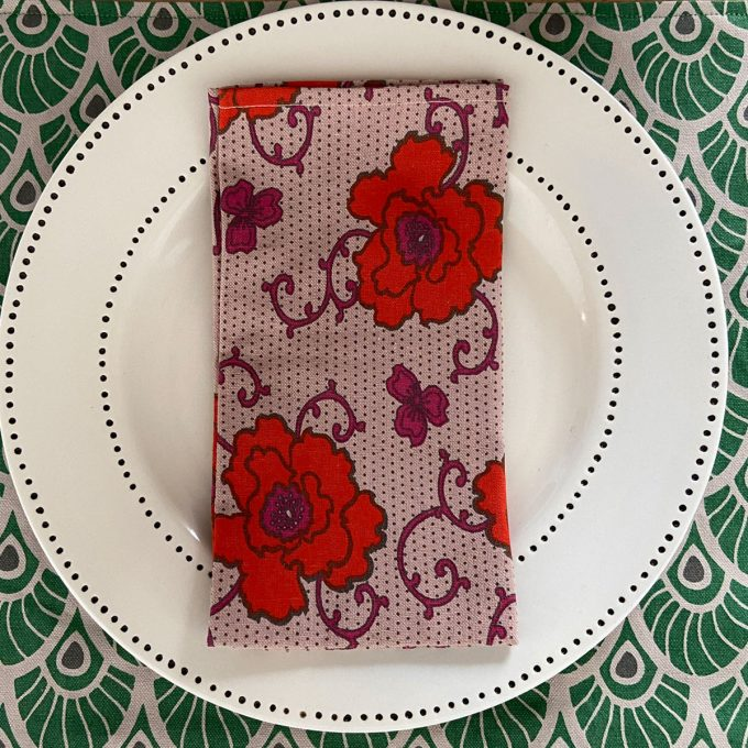 Tableware Combo Placemat Feather Juniper Napkin Russian Flower