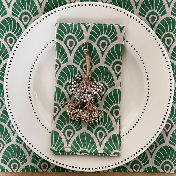 Tableware Combo Placemat Feather Napkin Juniper