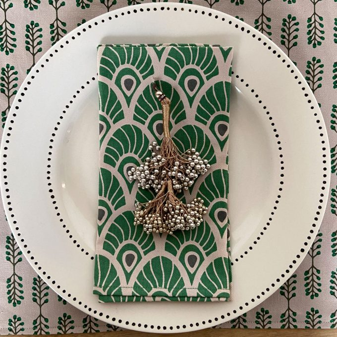Tableware Combo Placemat Small Stem Napkin Feather Juniper