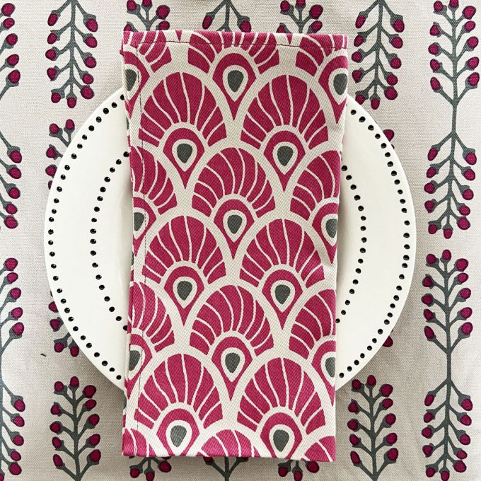 Tableware Combo Placemat Stem Fuchsia Red