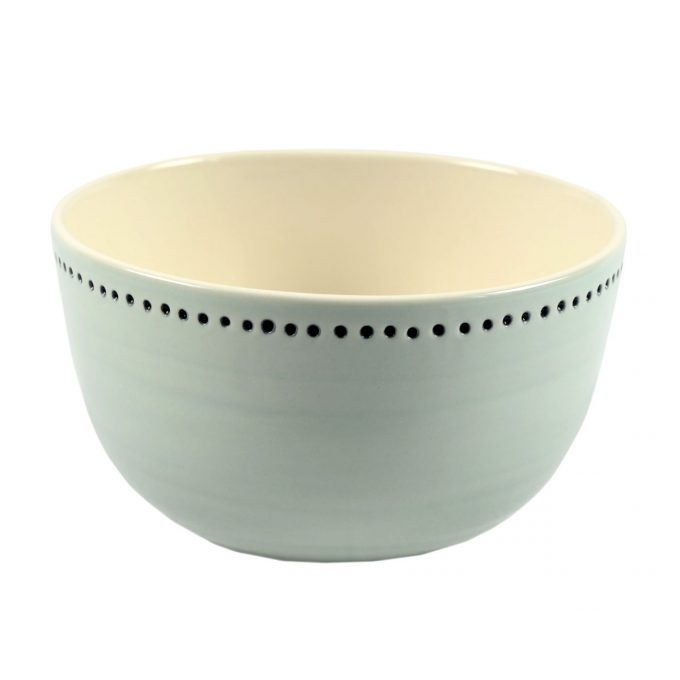 Tallentire House Bowl Horizontal Dots Duck Egg White