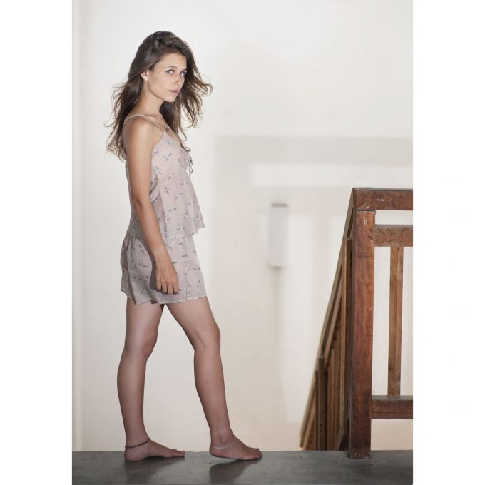 Tallentire House Cami Shorts Bird Dusty Pink Chalk Blue