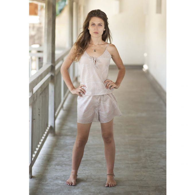 Tallentire House Cami Shorts Dots Dusty Pink Chalk Blue 2