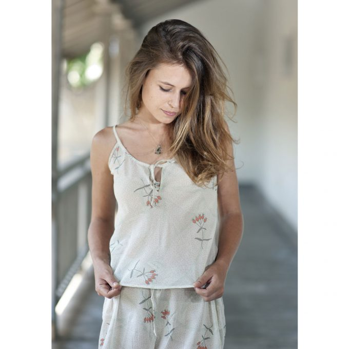 Tallentire House Cami Top Dotty Flower Moon Beam Coral 2