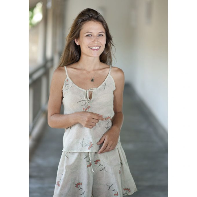 Tallentire House Cami Top Dotty Flower Moon Beam Coral 4