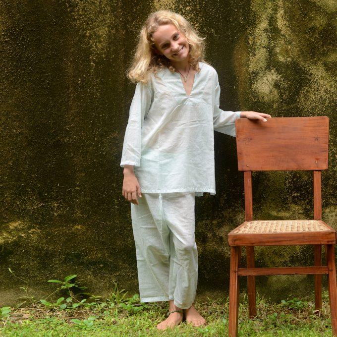 Tallentire House Children Pyjama Dots Blue Blush Metal