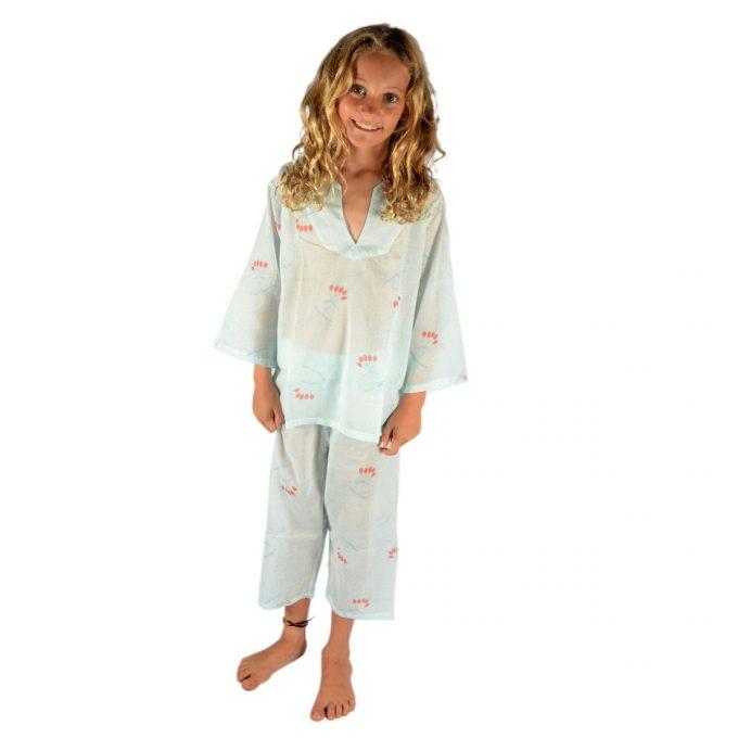 Tallentire House Children Pyjama Dotty Flower Blue Blush Coral