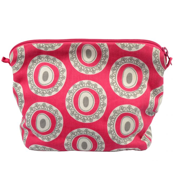 Tallentire House Cosmetics Purse Large Byzantine Circle Bright Rose Wild Dove