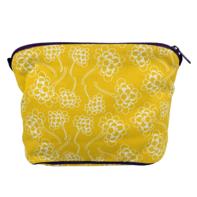 Tallentire House Cosmetics Purse Large Chinese Flower Celery Inverse
