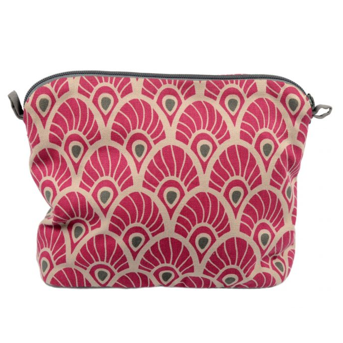 Tallentire House Cosmetics Purse Large Feather Fuchsia Red