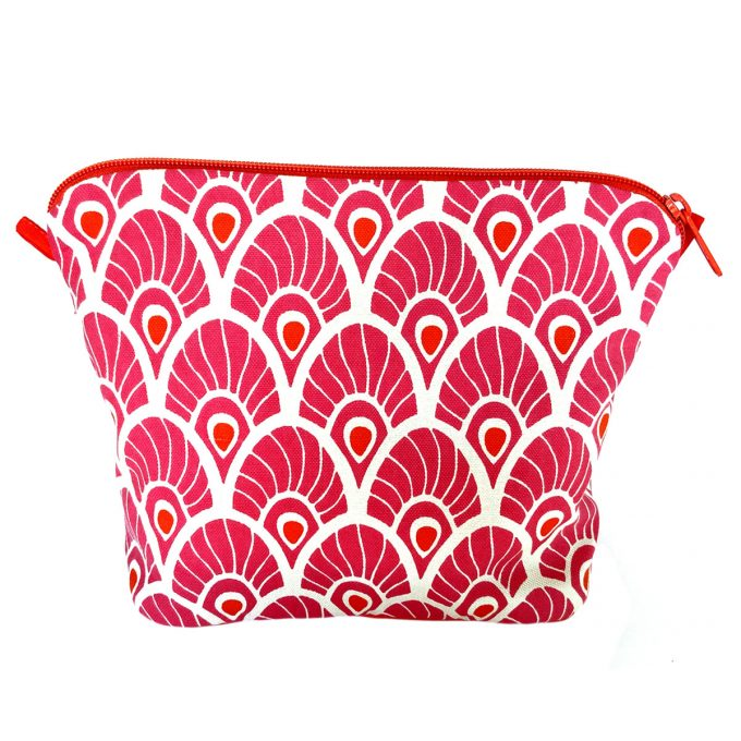 Tallentire House Cosmetics Purse Large Feather Magenta