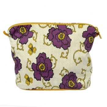 Tallentire House Cosmetics Purse Large Russian Flower Grape Wine Oil Yellow