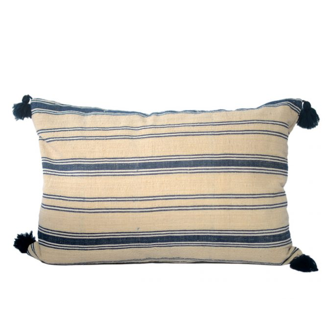 Tallentire House Cushion Antique Turkish Cotton Striped Blue White