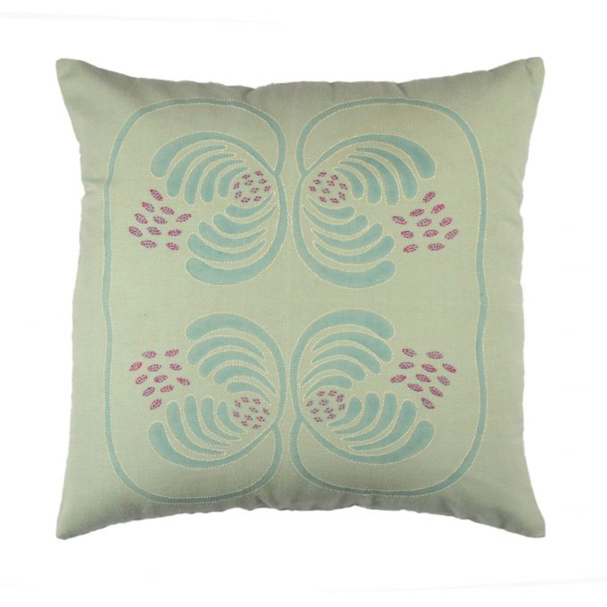 Tallentire House Cushion Cotton Flax Wisteria Green Embroidered 45x45