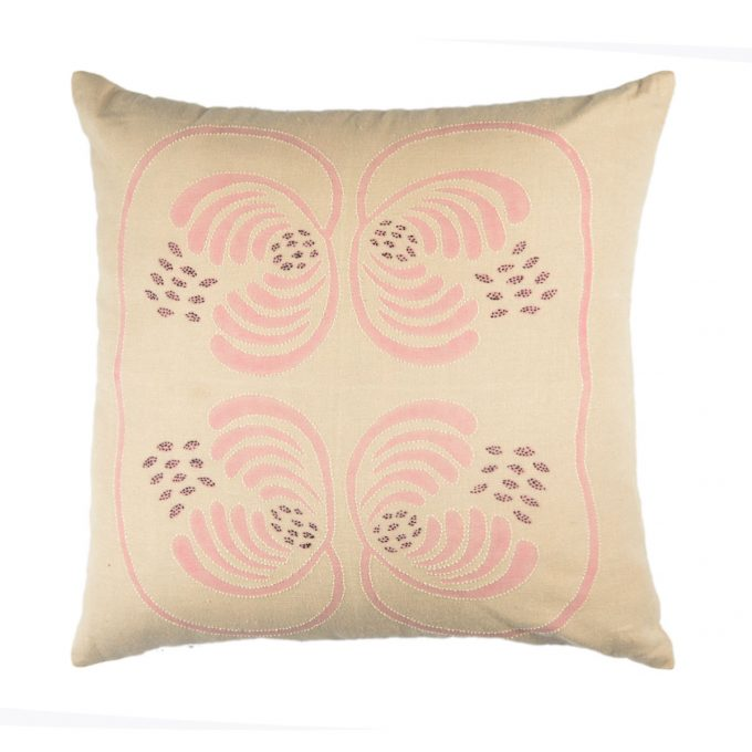 Tallentire House Cushion Cotton Flax Wisteria Pink Embroidered 45x45