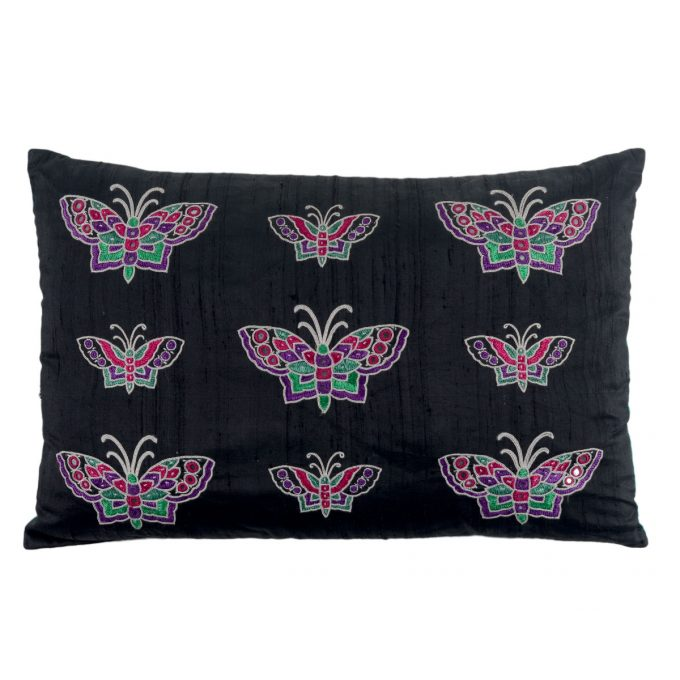 Tallentire House Cushion Silk Ahir Mirrored Butterfly Black