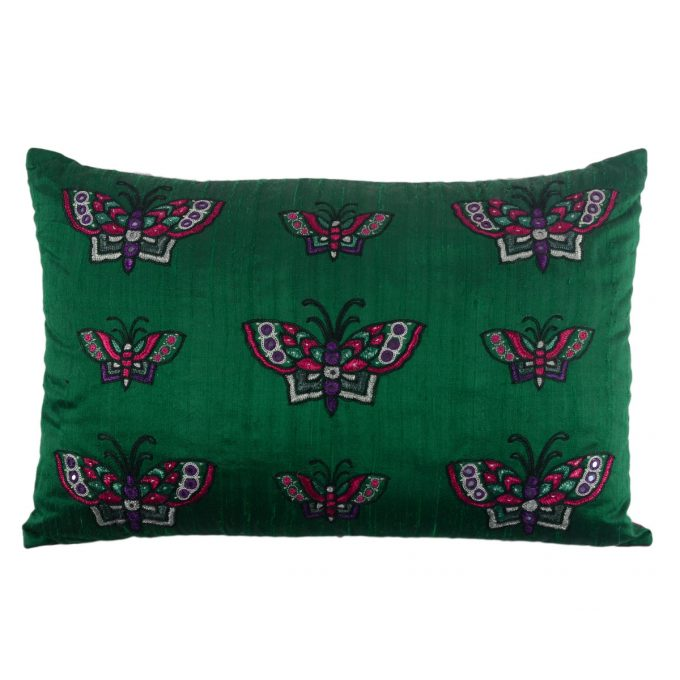 Tallentire House Cushion Silk Ahir Mirrored Butterfly Emerald