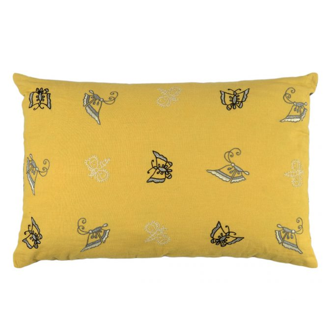 Tallentire House Cushion Silk Ahir Small Butterfly Yellow