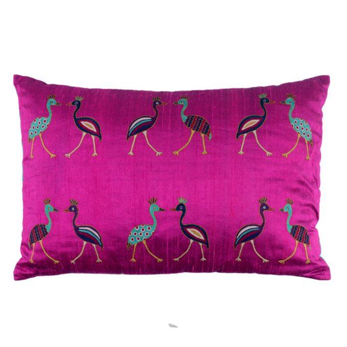 Tallentire House Cushion Silk Bird Embroidered Pink 60x40