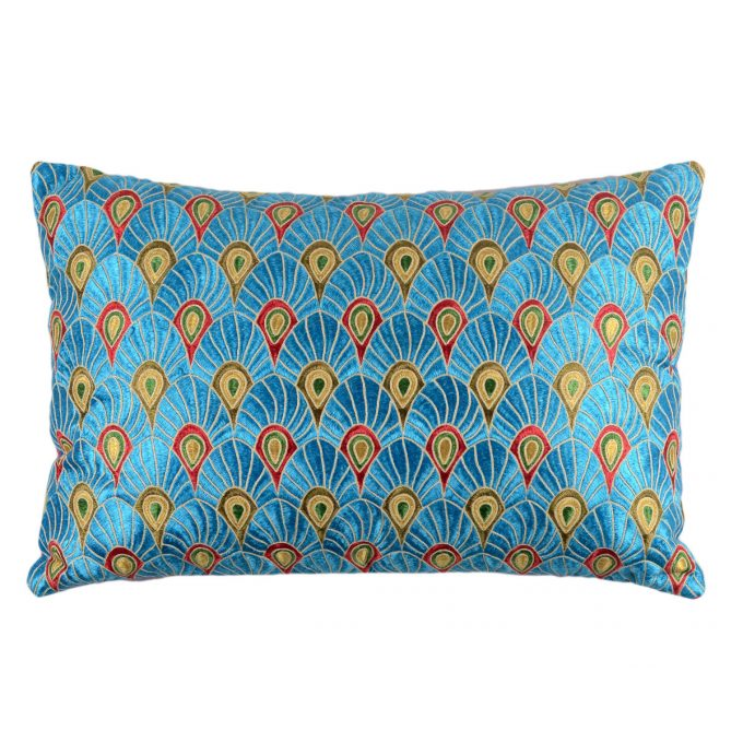 Tallentire House Cushion Silk Feather Embroidered Blue