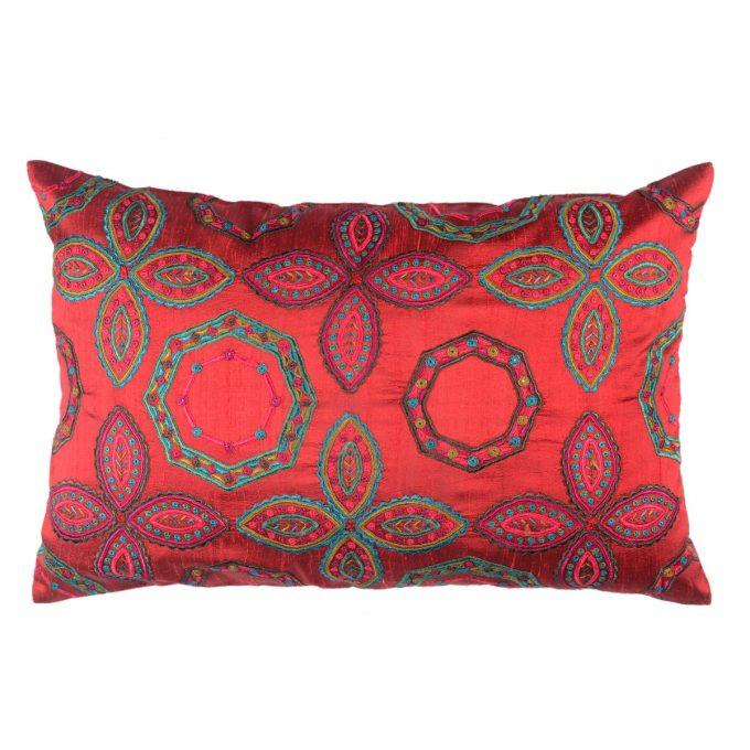 Tallentire House Cushion Silk Gypsy Octagon Red
