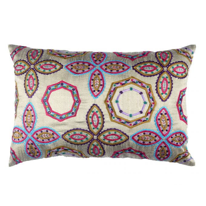 Tallentire House Cushion Silk Gypsy Octagon Silver